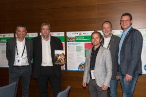 The WFDF and IFA delegations at the International Federation Forum 2017 on Sustainability presenting their joint case study on Sustainability which was projected with the International Olympic Committee (IOC). From left to right: Vincent Gaillard (WFDF Advisory Council chair), Volker Bernardi (WFDF Executive Director), Christoph Oberlehner (IFA Administrative Director), Karl Weiss (IFA President), Jörn Verleger (IFA Secretary General). Photo by Robert Hradil/Getty Images for SportAccord